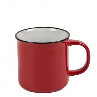 Becher Keramik Vintage rot 260ml, mit Druck/geeicht 0,2l