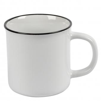 Becher Keramik Vintage weiß 350ml, mit Druck/geeicht 0,3l