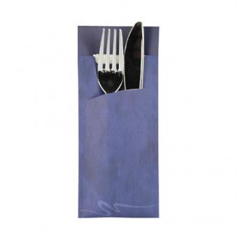 520 Stück Bestecktasche blau inkl. Serviette weiß