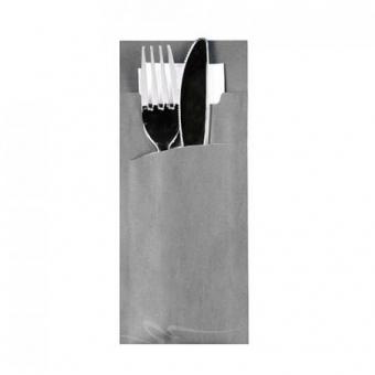 520 Stück Bestecktasche grau inkl. Serviette weiß