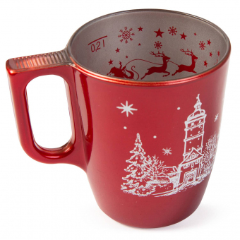 Glühweintasse 0,2l Flashy rot metallic Greetings+Weihnachtsmotiv